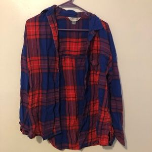 Red and blue checkered long sleeve button down
